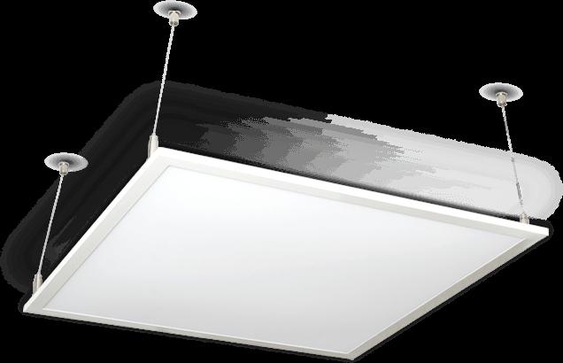 Zestaw oświetlenia biurowego zainstalowany na suficie